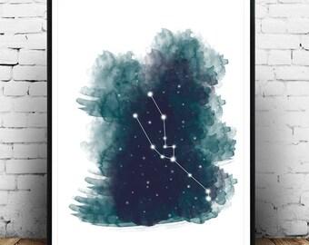 Zodiac Print, Astrology, Taurus, Print, Art, Taurus Zodiac Art Poster Print