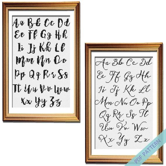 Cross Stitch Calligraphy Pattern Set Typography Cross