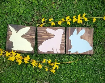 Easter Home Decor - Baby Bunnies - Pastel Hand Painted - 5x5 Wood Blocks - Mini Wood Blocks - Easter Bunny - Rabbit Decor - Three Bunnies
