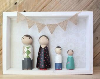 Custom Family Portrait Mini Me Peg Doll Family Shadow Box Display