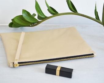 PARIS - Medium Gold LEATHER POUCH - IPad Case - Italian Leather Clutch - Gold Leather Clutch - Wrist Strap