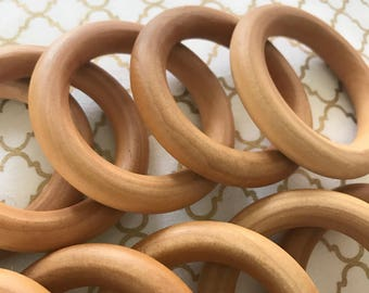 """SMOOTH ORGANIC Natural Finished Wood Rings 2.5"""" or 3"""" for Baby Teething- Wooden rings sealed w/ 100% Organic Beeswax and Coconut Oil CPSIA"""