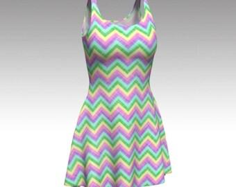 Pastel Dress, Chevron Dress, Pastel Chevron, Zigzag Dress, Flare Dress, Skater Dress, Bodycon Dress, Fitted Dress, Spring Dress, Short Dress