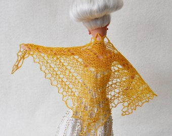 hand knit, hand dyed pale orange lacy shawl for 11 1/2 inch fashion doll
