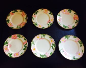 Six Franciscan Desert Rose Luncheon, Salad, or Dessert Plates // 8 inch