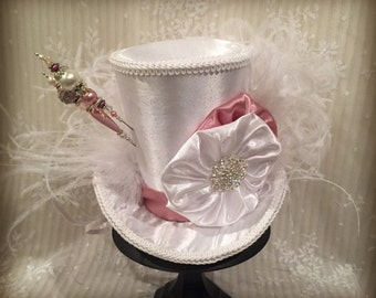 Steampunk Mini Top Hat, Mad Hatter Hat, Cosplay, Costume, Victorian, Fascinator, White Hat, Hatpins, Wedding, Tea Party, Bridal Shower, Hat