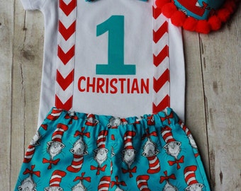 1st birthday outfit cat in the hat Dr. Seuss smash cake outfit boys 1st birthday outfit *3PC OUTFIT*