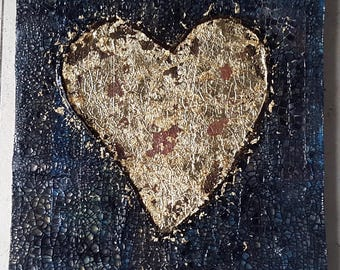 Acrylic painting canvas 26 x 31 x 2 gold leaf rust painting structures abstract HeART painting