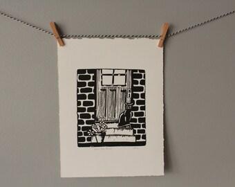 cat print, cat, cat lover gift, animal art, black and white, linocut, housewarming, decor, wall art, cat art