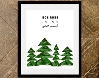 Bob Ross Gift Bob Ross Print Artist Gift Funny Quote Happy Little