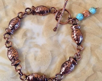 USA FREE SHIPPING!! Antiqued Copper Fish and Stone Bracelet