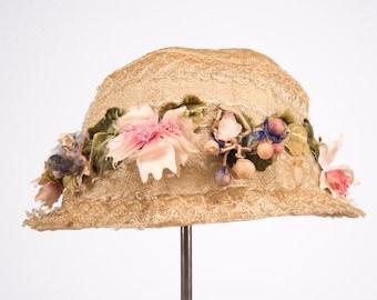 1918 Vintage Peach Basket Straw and flower hat