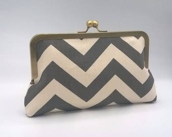 Gray Chevron Clutch, Set of 4 Clutches, Gray Bridesmaid Clutches, Custom Bridesmaid Gifts, Grey Clutch