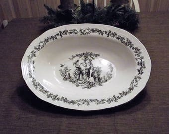 Tabletops Unlimited *-* NEW ENGLAND TOILE *-*, Oval Vegetable Bowl