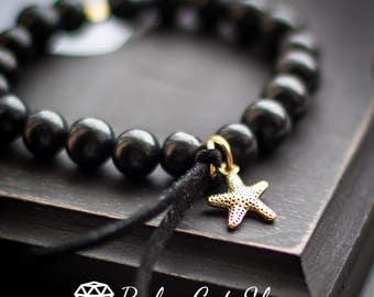 Shungite bracelet with gold pendant EMF protection health crystal healing bracelet noble shungite mystic stone amulet chakra balancing