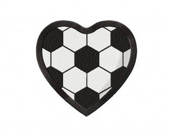 Soccer heart embroidery design