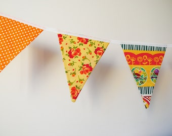 Bunting flags, bright room decor, children's room, wall hanging