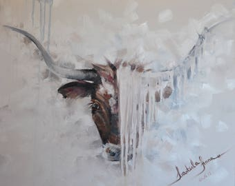 Unique original oil painting on canvas. Longhorn.