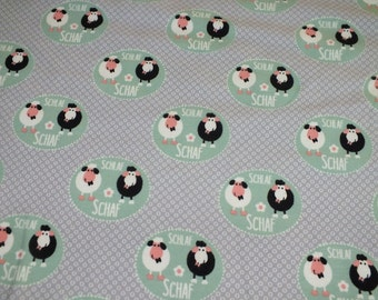 Cotton Jersey sleep sheep Mint grey Jersey fabric fabric by the metre 0.50 metres