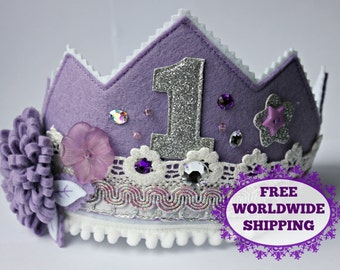 Birthday crown, felt princess crown, lilac photo prop for toddler girls, FREE WORLDWIDE SHIPPING limited time only