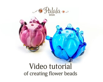 Lampwork flower beads tutorial video