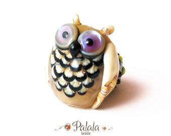 Handmade Lampwork Focal Owl Bead