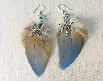 Parrot Feather Snowflake Earrings, Blue and Gold macaw 2