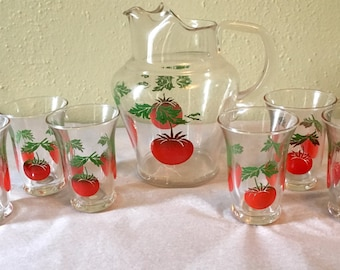 Vintage Clear Tomato Juice Pitcher w/ Set of 6 Juice Glasses