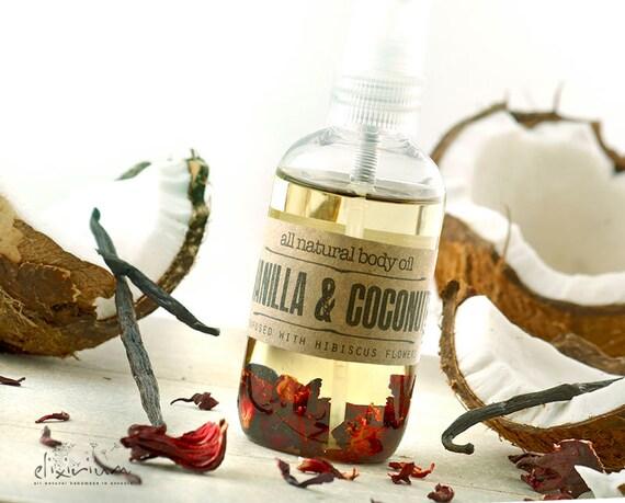 Vanilla Coconut BODY OIL with Hibiscus • Organic Body Massage oil for all natural skin care, Body Moisturizer, Spa oil, Nourishing Elixirium