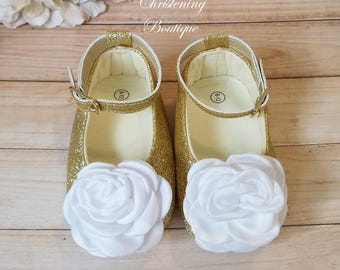 Gold Christening Shoes - Baby Girl Christening Shoes - Baptism Shoes - Christening Shoes - Flower Girl Shoes - White and Gold Baby Shoes