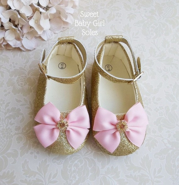 Pink and Gold First Birthday Outfit Gold Baby Shoes Pink and