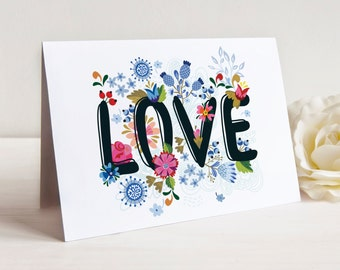 Love Notes, Set 0f 10 Cards with Envelopes, Floral Love, Valentines Day Cards