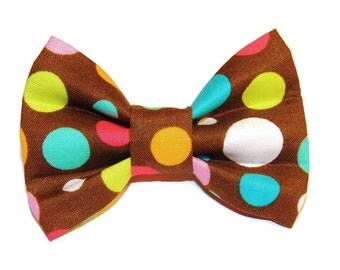 Small Brown & Multi-Colored Dots Slip-On Collar Bow Tie