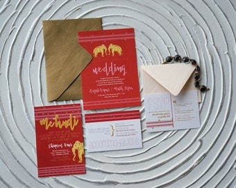 Indian-Inspired, Vibrant, Elephant Wedding Invitation Suite (Deposit Listing to Begin Design Process!)