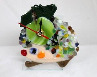 "Fused glass clock ""Hedgehog"""