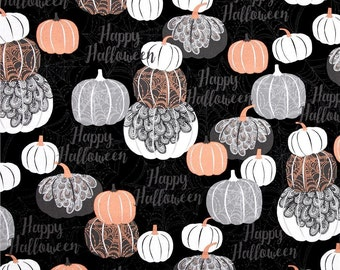"Halloween Fabric, Pumpkin Fabric: Potions and Spells - Metallic Halloween Pumpkins on Black  100% cotton fabric by yard 36""x43"" (N635)"