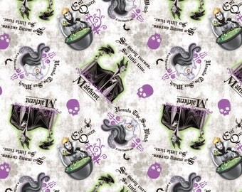 In stock New Disney Female Villains Patch- Ursula, Evil Queen, Maleficent with Skulls  100% cotton fabric - SC370
