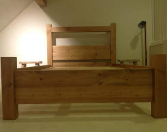 Rustic Pine Planked Bed Solid Wood
