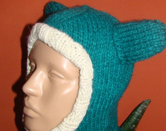 Baby Hat, Green Hand knit Hat, Winter Hat, Warm Wool Cap, Baby Boys Hat