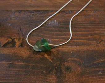 3 shades of green sea glass and silver necklace