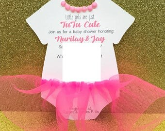 tutu invitations baby shower invites first birthday invites pink tutu invites set