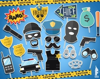 Printable Cops and Robbers photo booth- Printable Cops and Robbers props- Cops and Robbers props- Cops and Robbers party- Cops and Robbers