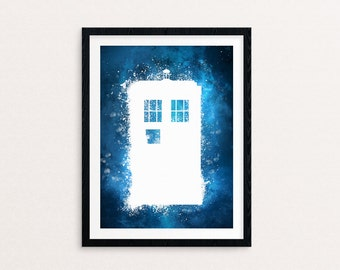 Watercolor Spatter Tardis from Doctor Who Wall Art Instant Download Digital File PRINTABLE