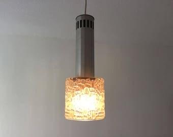 Retro hanglamp glas met geborsteld staal vintage sixties hal lamp
