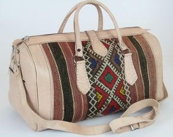 Kilim traveling bag boho Bohemian style Kilim leather Morocco Moroccan handmade unique ethno