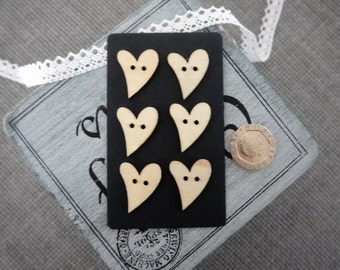 10 x Natural Coloured Wooden A-cemetric Heart Button