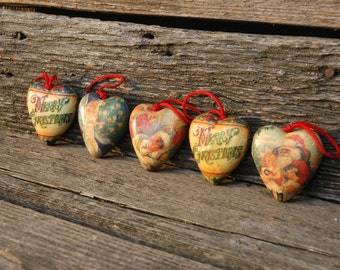 Christmas ornaments,heart decoupage Christmas ornaments