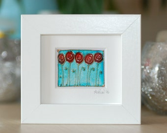 Poppies in the blue  - Mini works of Art - framed