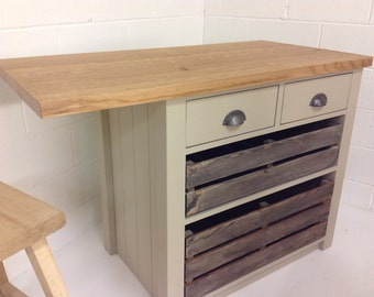 Kitchen Island with Oak Worktop / Breakfast Bar