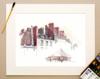 Watercolor Nantes - Place of the good Shepherd - signed reproduction and appear